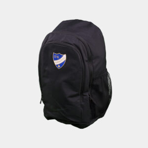 svart ryggsäck med IFK Norrköpings klubbemblem